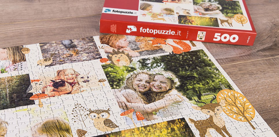 Foto puzzle con collage illustrato