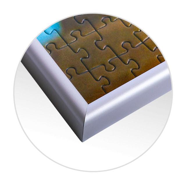 Cornice per foto puzzle; visualizzazione dettagliata angolo