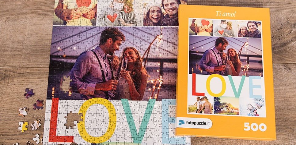 Foto puzzle collage con messaggio